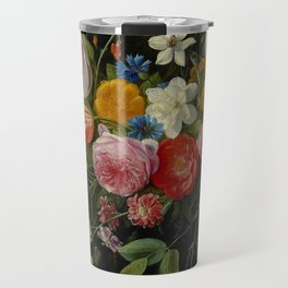 "Jan van Kessel de Oude ""Tulips, peonies, chicory, carnations, cherry blossom and other flowers"" Travel Mug"