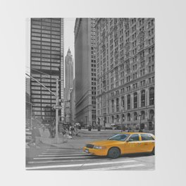 NYC - Yellow Cabs - Trinity Place Throw Blanket