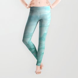 Ocean Blue Marble Texture Leggings
