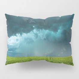 April Showers - Colorful Stormy Sky Over Lush Field in Kansas Pillow Sham