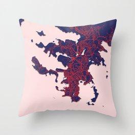 Noumea, New Caledonia, Blue, White, City, Map Throw Pillow