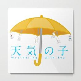 Weathering with you umbrella with rain dolls Metal Print