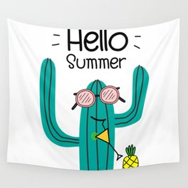 Fun Cactus And Pineapple Wall Tapestry