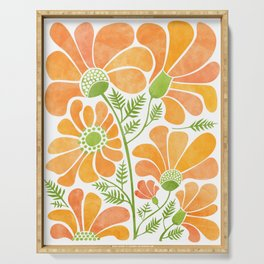 Happy California Poppies / hand drawn flowers Serving Tray