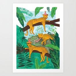 Party Leopards Art Print