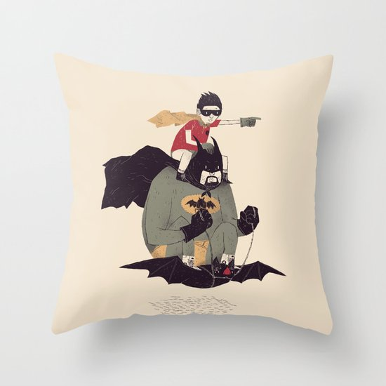 to the batmobile! Throw Pillow