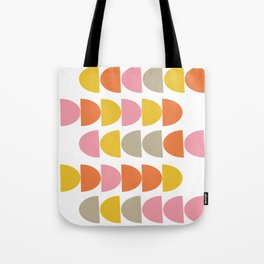 Cute Geometric Shapes Pattern in Pink Orange and Yellow Tote Bag