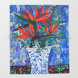 Birds of Paradise in Blue After Matisse Throw Blanket