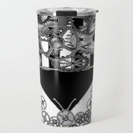 BLACK & WHITE CLOCKWORK BUTTERFLY ABSTRACT ART Travel Mug