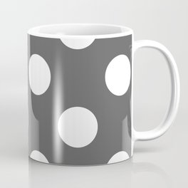 Large Polka Dots - White on Dark Gray Coffee Mug