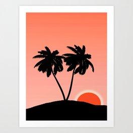Palm Tree Silhouette Against a Sunset Orange Background Art Print