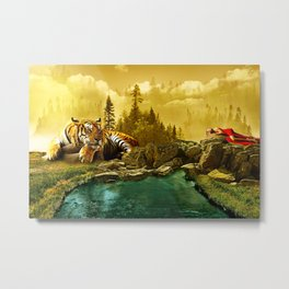 fantasy landscape with lady and big tiger Metal Print