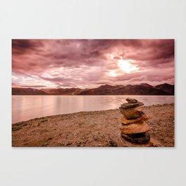 Sunrise at Pangong Tso Lake in Ladakh - Indian Himalayas Canvas Print