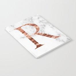 Monogram rose gold marble R Notebook