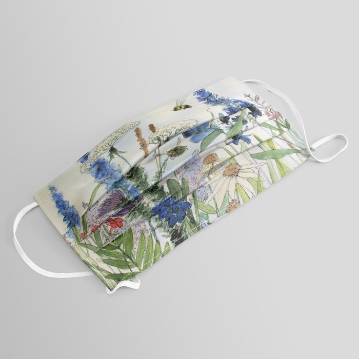 Wildflower in Garden Watercolor Flower Illustration Painting Face Mask