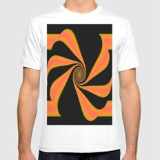 Abstract. Orange+Yellow. MEDIUM White Mens Fitted Tee