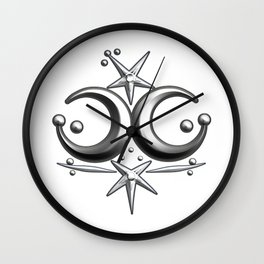 Iceni Silver Moons and Stars. Wall Clock