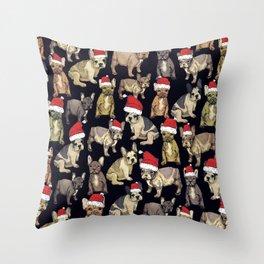 french bulldog christmas Throw Pillow