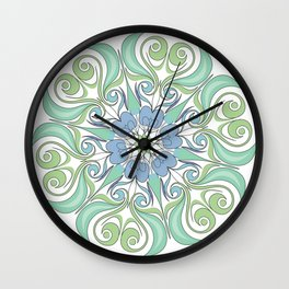 green and blue color mandala Wall Clock