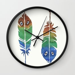 Colorful Decorative Feathers Wall Clock