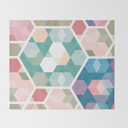 Pastel Hexagon Pattern Throw Blanket