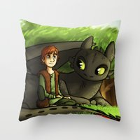hiccup Throw Pillows featuring hiccup n' toothless by Marie Mikolay