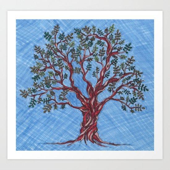 Olive Tree (Blue) Art Print