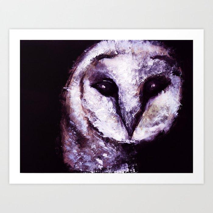 Barn Owl Painting by Lil Owl Studio Art Print
