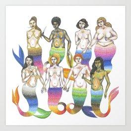 group of mermaids holding knives II Art Print