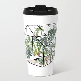 greenhouse with plants Metal Travel Mug