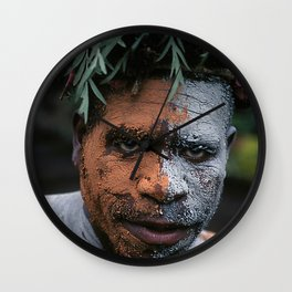 Papua New Guinea Exotic Sing-Sing Performer Wall Clock
