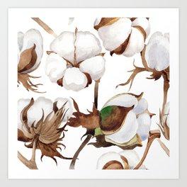 Cotton Flower Pattern 01 Art Print