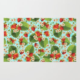 Botanical Strawberries Rug