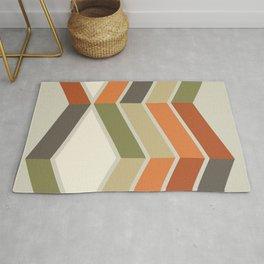 Mid Century Modern Diagonal Stripes Green Orange Rug