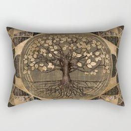 Tree of life - Yggdrasil - Wood and Gold Rectangular Pillow