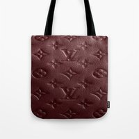 lv Tote Bags featuring Burgundy LV by Luxe Glam Decor
