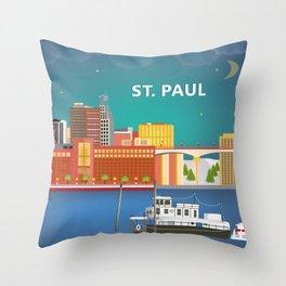 St. Paul, Minnesota - Skyline Illustration by Loose Petals Throw Pillow