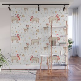 Christmas brown white winter forest animals floral Wall Mural