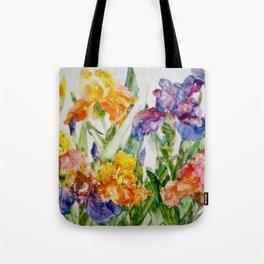 Multicolored iris Tote Bag