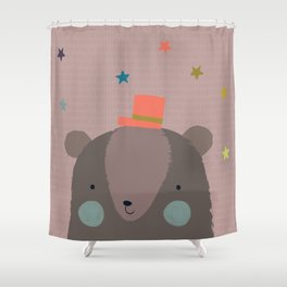 Big Bear and Bluebird Pink Shower Curtain