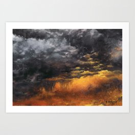 Watercolor Sky No 6 - dramatic storm clouds Art Print