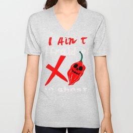 Ain't Afraid of No Ghost Pepper Chili Head Print Unisex V-Neck