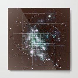 Galaxy Sacred Geometry: Golden Mean dark Metal Print