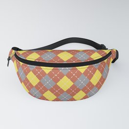 Gray Yellow and Dark Orange Argyle Pattern V11 Pantone 2021 Colors of the Year & Accent Shades Fanny Pack
