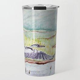 Flight of the Great Blue Heron, Trojan Oregon painting Travel Mug
