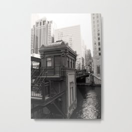 Black and White Chicago River Boat House Photography Metal Print
