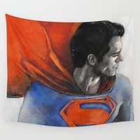 man of steel Wall Tapestries featuring Man of Steel by Christine Chang