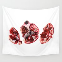 pomegranate Wall Tapestries featuring Pomegranate  by Sam Luotonen