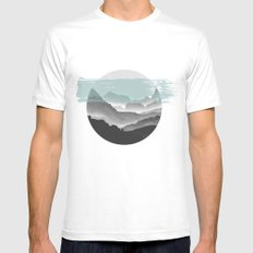 Mountain geometry LARGE White Mens Fitted Tee