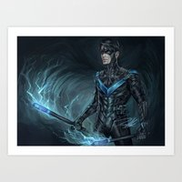 nightwing Art Prints featuring Nightwing by Veradia